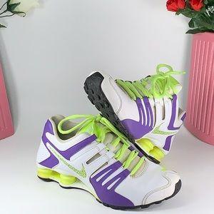 Nike Shox Current Running Shoe Purple/Neon Sz 7.5